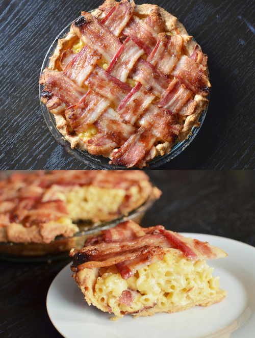 digg:  This is bacon-mac and cheese pie. Here's the recipe for when you're done drooling.  DUDE. foodgasm. hardcore.