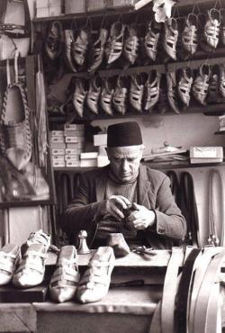 balkan-thug:  Bosnian man making opanke (traditional Balkan shoes) in Bosna-Hercegovina