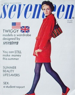 60sfashionandbeauty:  Twiggy on the cover of Seventeen, July 1967. (♥)