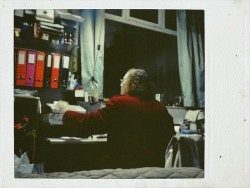 My grandmother, closing the register in the atelier, last Winter.