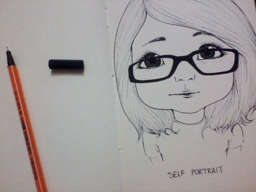 "Just a random ""cute"" self portrait somewhere on my sketchbook. Quite different from the real me but… LMAO."