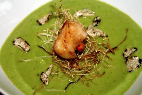 Green peas cream with black truffle, crunchy onion roots and brandy scallops