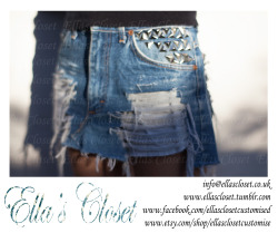 Levis denim skirt customised by Ella's Closet, on sale now at etsy, follow link below!! For customisation to suit all tastes follow us at                                                                       http://ellascloset.tumblr.com we customise all clothes and shoes. or why not join us on Facebook to receive a discount on your first order and latest offers    http://www.facebook.com/ellasclosetcustomised we are also selling on Etsy check it out  http://www.etsy.com/shop/EllasClosetCustomise we customise anything and everything                 check us out xx