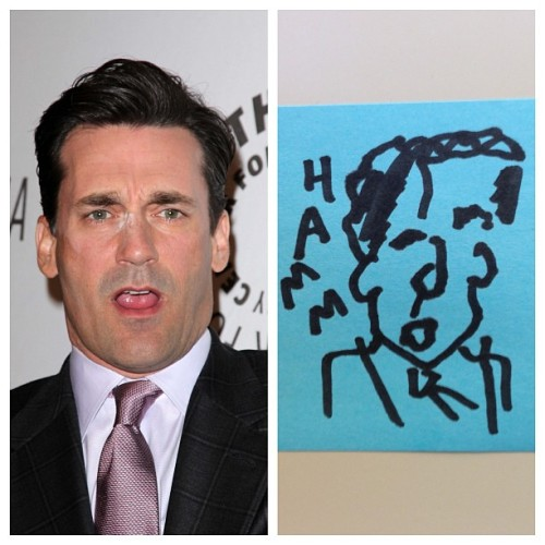 Since everyone's talking about Jon Hamm's bulging penis, I drew him with my eyes closed.