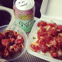Back to work but at least got to grab a #poke bowl combo and Waiola's #shaveIce as my last meal in #Hawaii.  (at Ono Seafood)