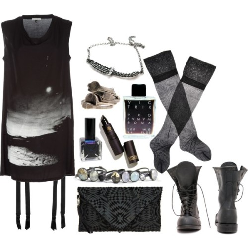 "ghoulnextdoor:  Fuck glass slippers - Ghoul Next Door, Polyvore I don't often enter contests on polyvore, but I couldn't resist this ""what would you pair with combat boots?"" contest.  Also, it irritated me that all of the contestants are offering explanations of why they paired this with that, or why such and such would look good with the boots.  A lady wearing combat boots does not need to explain why she is wearing combat boots."
