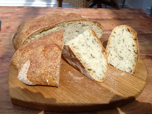 Basil and Corinader Sourdough Bread Paul Hollywood's Bread page 17. It was quite fiddly to knead in the herbs and the dough looked very green when proving but its lovely.