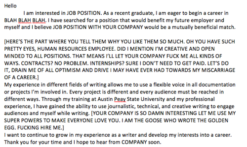 projectilevarmint:  Just working on my cover letter