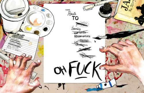 The creative struggle. Watercolour, pencil, ink and digital photo collage.