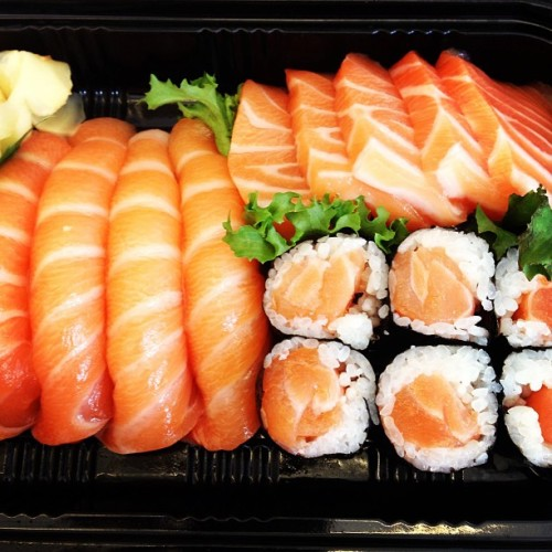 A sushi lunch made for a salmon lover.  (at Seamless)