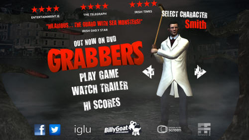 Grabbers is now a game! And it's FREE! From midnight tonight you can download the game to your iPhone or Andriod and get to flattening as many Grabblings and/or King Grabbers as you can in sixty seconds. You can play as one of three main characters, as O'Shea (Richard Coyle), Lisa (Ruth Bradley) or Smith (Russell Tovey). Never did I imagine the characters I dreamed up on a rainy Saturday would end up playable in a game. Crazy days. You can find out more about the game on the official site: grabbersgame.com!