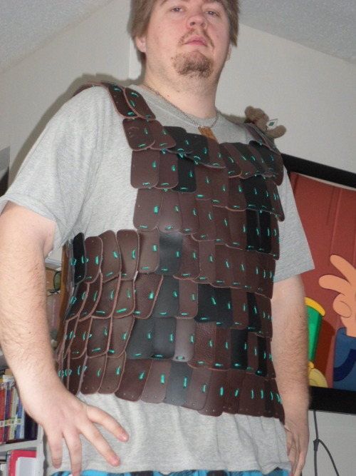 progress on my current Armour project, lamellar still need to make paldrons and tassets for some leg protection and trim it