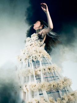 Yumi Lambert in Alexander McQueen, photographed by Pierre Debusschere for Dazed & Confused February 2013.