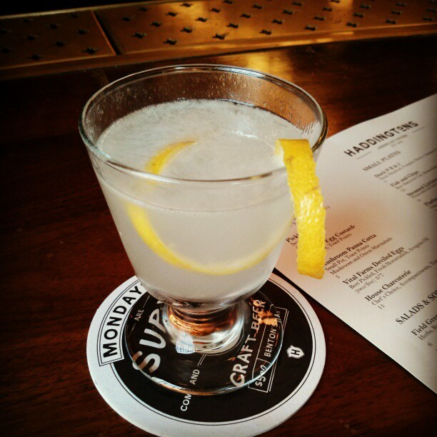 A white lady cocktail at Haddington's in Austin, TX - gin, orange liqueur and lemon. Perfect for a hot spring day!