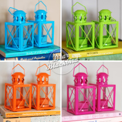 Super bright and glossy tea light lanterns, £3 each.11cm tall, not including the handle, and 5.5cm square.