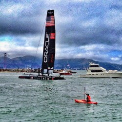 Getting up, close and personal with the big boats at #americascup in San Francisco, California (at The Wave Organ)