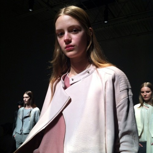 Rose-hued leather at J Brand's Fall presentation