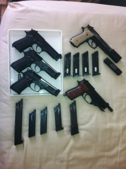 Current sidearms in my collection.1x KSC M9 Hardkick2x KWA M9BR 1x KSC M93R(All of these run on System 7 mags)And my custom compensated M9. Needless to say I have an M9 fetish.
