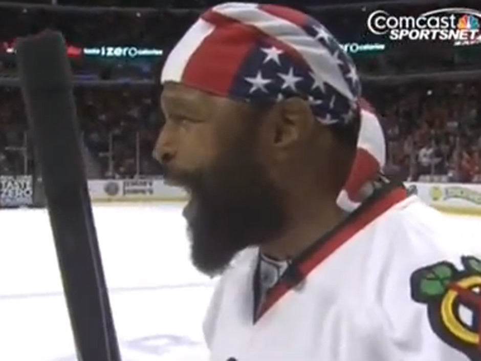 "nationalpostsports:  Mr. T scored a goal at the Blackhawks game on Tuesday night during a promotion at intermission. In the leadup, he was asked for his prediction about the shot from centre ice. He responded the only way Mr. T knows how: ""PAIN. I pity that puck."" (Click through to watch the video)"
