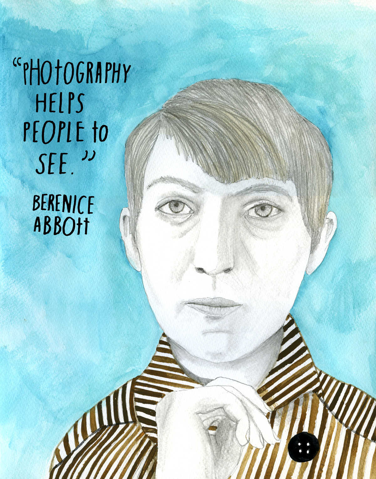 "Long before photography became ""the people's art,"" Berenice Abbott (July 17, 1898 – December 9, 1991) took a large-format camera to the streets to forge a new dialogue between the urban landscape and its inhabitants through her stark black-and-white photographs. Best-remembered for her Changing New York series — 307 evocative black-and-white portraits of the city's architecture and urban design, taken between 1935 and 1939 — Abbott remains one of the most recognizable voices in the history of photography. Her story is, in many ways, one of unlikely success. Raised by a divorced mother, Abbott left her Ohio home in 1918, at the age of twenty, and moved to New York's Greenwich Village to study sculpture. There, ""adopted"" by anarchist Hippolyte Havel, Abbott moved into an apartment with several of the era's celebrated thinkers — literary critic Malcolm Cowley, philosopher Kenneth Burke, and poet Djuna Barnes. The following year, she nearly lost her life to the deadly ""Spanish flu"" pandemic that killed an estimated 50 to 100 million people across the globe. But Abbott persevered, and soon moved to Europe to continue her studies in sculpture. In 1923, she got word that legendary modernist artist Man Ray was looking to hire someone who knew nothing about photography to work in his portrait studio darkroom and as a blank-slate assistant. Abbott jumped at the opportunity and soon discovered her passion for photography, impressing Ray into allowing her to use his studio for her own portraits. She went on to photograph such cultural icons as James Joyce, Jean Cocteau, and Marcel Duchamp. To be photographed by Abbott eventually became a seal of cultural significance. In 1925, Abbott discovered the work of Eugène Atget and was instantly mesmerized. After Atget's death two years later, Abbott took it upon herself to see to his legacy. In early 1929, she set out to find an American publisher for Atget's photographs and found herself in New York City. But, once there, she was taken with the city's photogenic handsomeness and decided to pursue her own photography. She returned to Paris, closed down her studio, and returned to New York to capture its spirit with her large-format Century Universal camera. With a modernist aesthetic influenced by Atget and a cultural lens shaped by the writings of urbanism pioneer Lewis Mumford, who advocated for a human-centric antidote to the mechanical age of the Second Industrial Revolution, Abbott went on to produce a powerful visual time-capsule of unique turning point in twentieth-century history. In 1935, she fell in love with art historian and critic Elizabeth McCausland, and the two moved into a loft in the Greenwich Village. They remained together until McCausland's death in 1965. In the late 1950s, Abbott turned to the intersection of art and science with her series of minimalist black-and-white photographic abstractions of scientific processes. Today, Abbott's legacy reverberates through both the aesthetic language of modern visual culture and the social change movements that succeeded the dawn of urbanism. Learn more: Brain Pickings  
