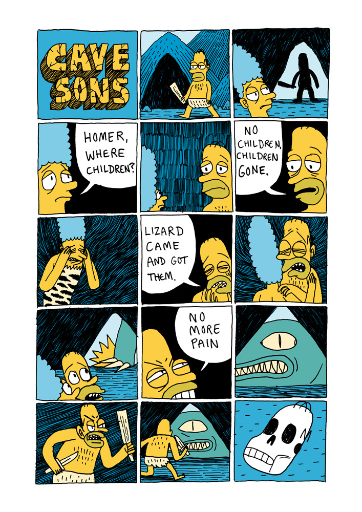 jackteagle:  Introducing the Cavesons!   jesus this depressed the fuck out of me. our distant ancestors who lived in the dark, huddled in caves, raw with emotion they had no language to expressalso they did not look like the simpsons