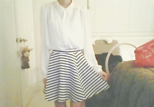 Actually bought a skirt for the very first time to match my blouse. lol