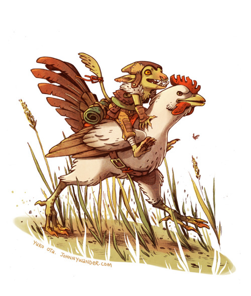 Goblin on a Rooster.  Pencil, photoshop. Evan declared this week Goblin Week and I could not refuse him.  There are two more days in Goblin Week if you would like to join along!  But truly, every week is Goblin Week. I kinda made this fella up as I went along so he might be more of an unusually small kobold than an unusually small goblin?  Also I think I was subconsciously channeling Lauren Pettapiece and/or Sam Bosma with this one, and while I'm here you guys should be following their tumblrs if you are not already. and sorry for the goblin shark link up there.