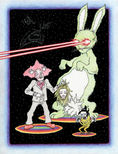 fantagraphics:  jhscomics:  The Magic Show, 2008.  Drawing by The Furry Trap creator Josh Simmons.