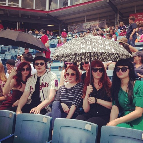mightyflynn:  Jack White and friends Greer Stadium, home of the Sounds May 8, 2013 Nashville, Tennessee Photo via thirdmanrecordsofficial