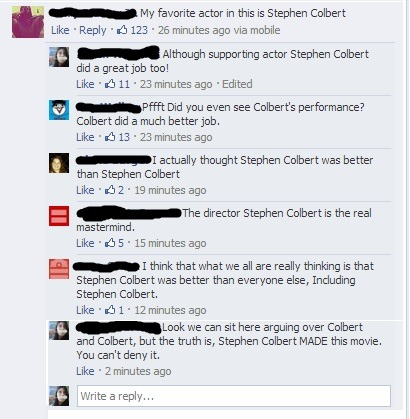 sage-turtle:  So I was a part of this on Stephen Colbert's facebook page…