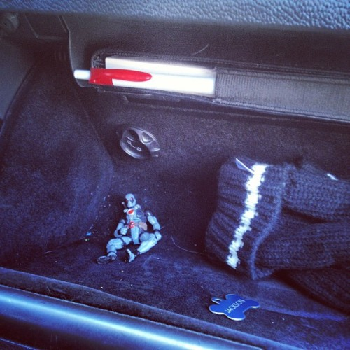 Cleaning out the car and found Deadpool in the glovebox.