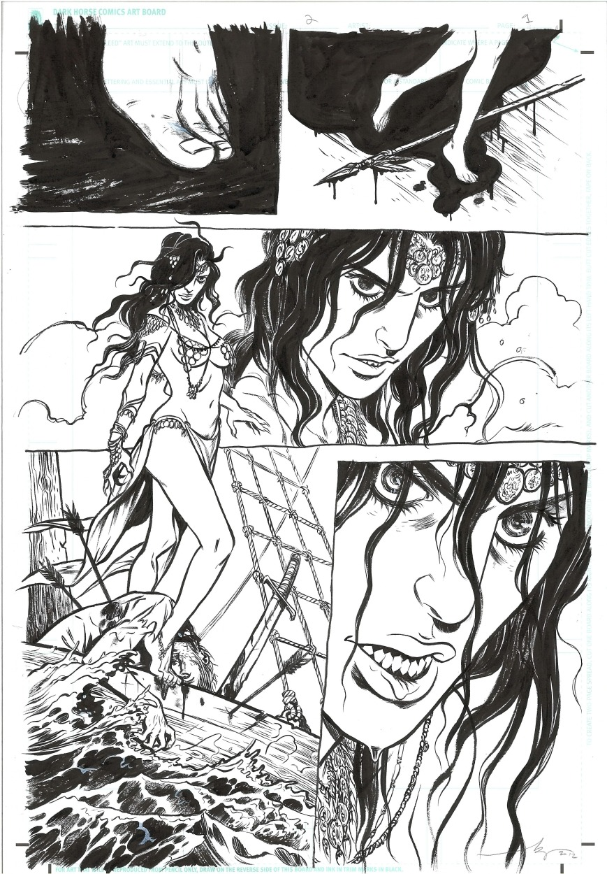Belit drawn by Becky Cloonan in Conan: Queen of the Black Coast #2. The first 3 or 4 issues are amazing. Some of the best comics of the year. (via comicartfans)