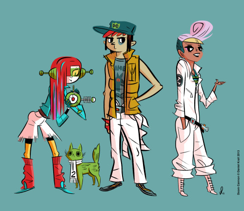 These are some character drawings I did a little while back for a project I'm working on! It's called Doom Cannon, and it's kind of a riff on teen robot pilot cartoons (Voltron, Evangelion, etc). Like most illustration types, I think character design is one of the best parts of the job. I'll probably throw a bunch of these up here!