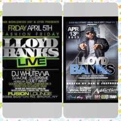 Tri-State! Two (2) Chances to See @theplk / @lloydbanks LIVE! First, THIS FRIDAY April 5th, check him out at The Fusion Lounge in the Bronx. Then on Saturday April 13th, check him out at Addiction Nightclub in Waterbury, CT! (To get tickets for the CT show - almost sold out! - hit @amyg13_ - FOR PRESS ONLY, CONTACT ME DIRECTLY.) #lloydbanks #lloydbanksconcert #gunit #hiphop #rap #lloydbankslive #live #livehiphop #newyork #NYC #bronx #addiction #waterbury #connecticut #likeforlike #likesforlikes #like4like #likes4likes #100likes