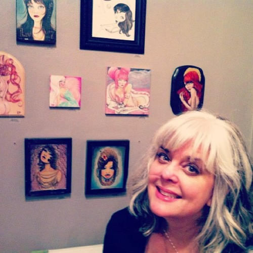 Me and some great art on the walls at Tasty… During the Tarts Trillops and Tramps show opening Friday night!  So much fun 😊#artist #gallery #shows #paint #pink #pinup #girl #girlie #sweet #curator#instmood #artistoninstagram #instagood