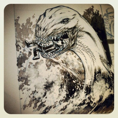 Desk shot: the Demon of the sea #art #comics #creature #SebastianHawks