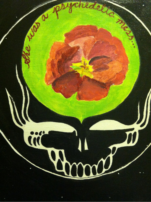 "kaythebay:  Part of a tribute acrylic piece I just painted (~);} ""Dead/Sublime Scarlet Begonias"" by Kayley"
