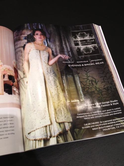 "Our first ad for ""Sameera Faridi Design Studio"" in ""Weddings in Houston "" Magazine !…"