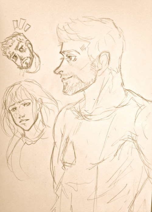 Doodled a Tony Stark in class. :3 And Pepper.