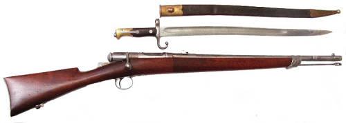 Vetterli single shot police carbine with bayonet.