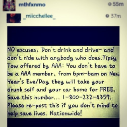 #repost #savelives #dontdrinkanddrive #happynewyearseve #besafetonite ❤😇🙏👍😊
