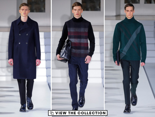 Jil Sander Fall 2013: Icy Colors for Cool Customers In the first fall collection after the minimalist maven's return to her eponymous label, Jil Sander complemented the winter cold with a icy palette of shadowy blues, forest greens, and slate grays. These colors were mixed and matched into pattern after pattern, arranged into various plaids, pinstripes, and windowpanes, and draped over Sander's trademark streamlined yet relaxed silhouettes. It's a look that is at once cold-weather and pristinely cool: perfect for looking a step apart from the somber flock, on overcast days to come. View the entire collection here.
