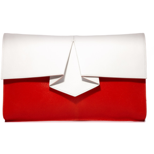 Vionnet clutch   ❤ liked on Polyvore (see more real leather handbags)