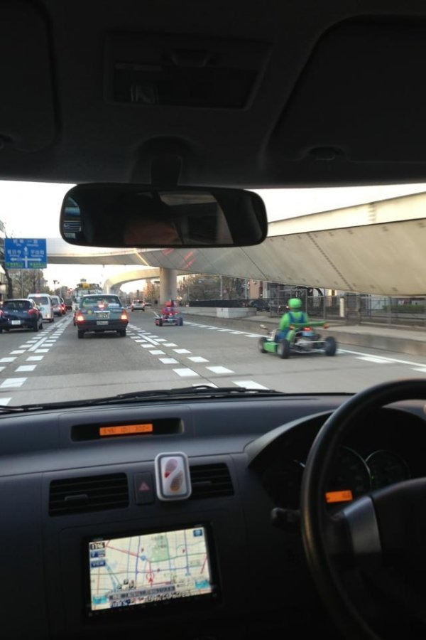 dorkly:  Mario Kart IRL Lay off the gas pedal, I think Luigi has a blue shell.