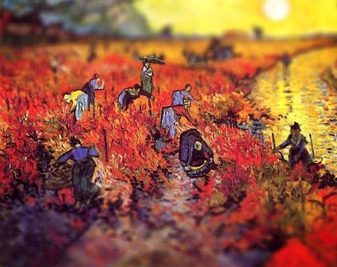 showslow:  Amazing Tilt-Shift Van Gogh Paintings Serena Malyon, an illustrator in her third year at the Alberta College of Art & Design, has taken the classics works of Vincent Van Gogh and added a contemporary twist. Using Photoshop, Serena has added the 'tilt-shift' effect to Van Gogh's paintings, providing a fresh perspective on these masterpieces.