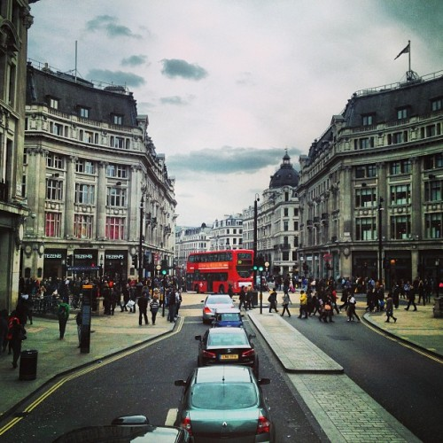wanderlustandsuch:  Today. #london #fromthebus  ahh. my previous university is on this street. sophomore year here. good times on oxford/regent street.