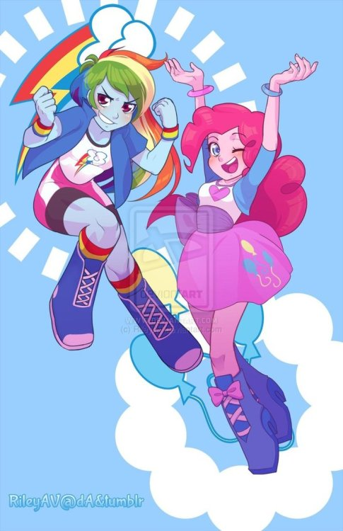 elrincondelpony:  Rainbow Dash Pinkie Pie EQ Poster by =RileyAV  As usual, fan artists continue to put the official designs to shame.
