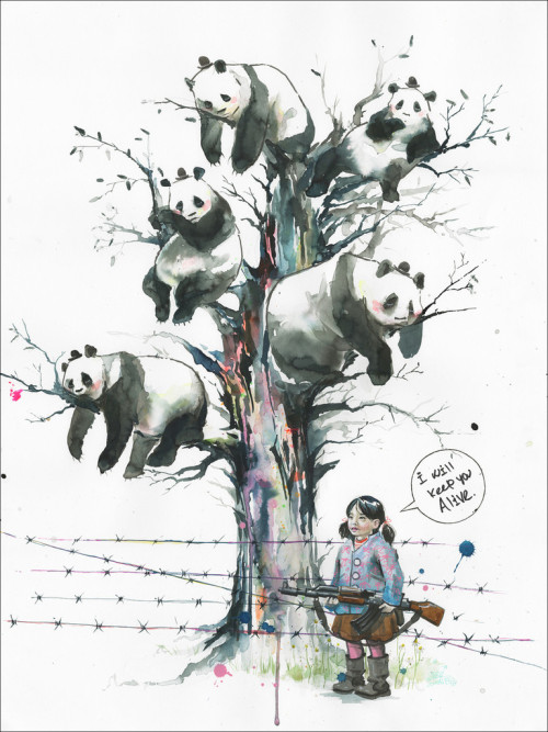 Panda Tree by Lora Zombie
