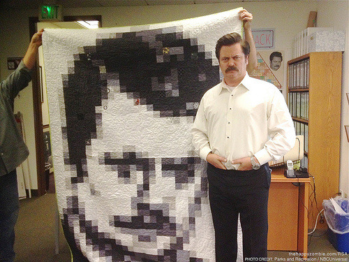 (via MAKE | Ron Swanson Quilt With Nick Offerman) Monica Solorio-Snow