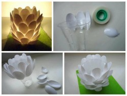 DIY Plastic Spoon Luminaire DIY Projects | UsefulDIY.com on We Heart It - http://weheartit.com/entry/60792190/via/takahilo   Hearted from: http://www.usefuldiy.com/diy-plastic-spoon-luminaire/#